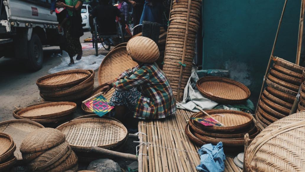 Myanmar basket woman